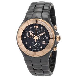 Technomarine Unisex Ceramic Diamond 110032C Cruise Black Dial Chronograph Watch