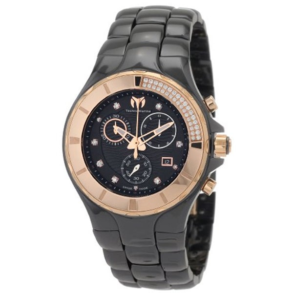 Technomarine Unisex Ceramic Diamond 110032C Cruise Black Dial Chronograph Watch