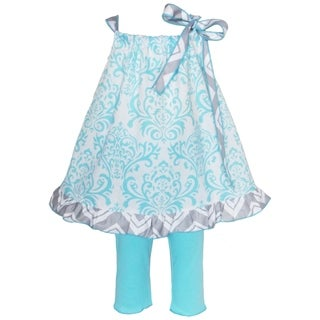 AnnLoren Girl's Blue Damask Pillow Case Tunic and Capri Pants Set