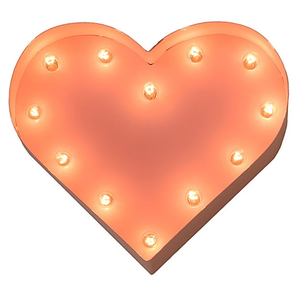 Indoor/ Outdoor Pink 12-inch Heart Marquee Light