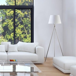 3-Way 59-inch Tripod Floor Lamp, Brushed Steel