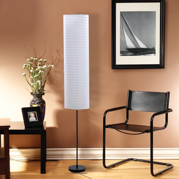 Catalina 18583-000 Paper Stick Floor Lamp with Rice Paper Shade, 70-Inch, Black