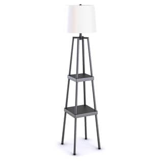 3-Way 58-inch Etagere Floor Lamp, Distressed Iron Painted