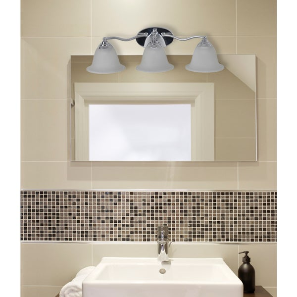 Catalina Chrome Plated 3-light Vanity Light with Frosted Glass Shade