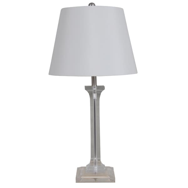 Dimmable 30-inch Led Clear Acrylic Table Lamp with a White Faux Silk Shade (LED Bulb Included)
