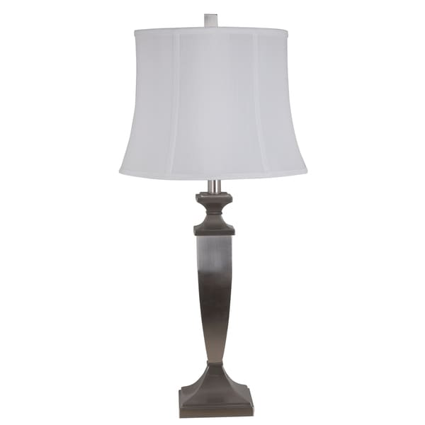 Dimmable 30-inch Led Metal Table Lamp with Brushed Nickel Finish and a Faux Silk Shade (LED Bulb Included)