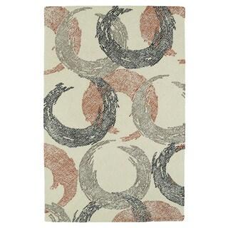 Hand-Tufted Mi Casa Ivory Circles Rug (3'6 x 5'6)