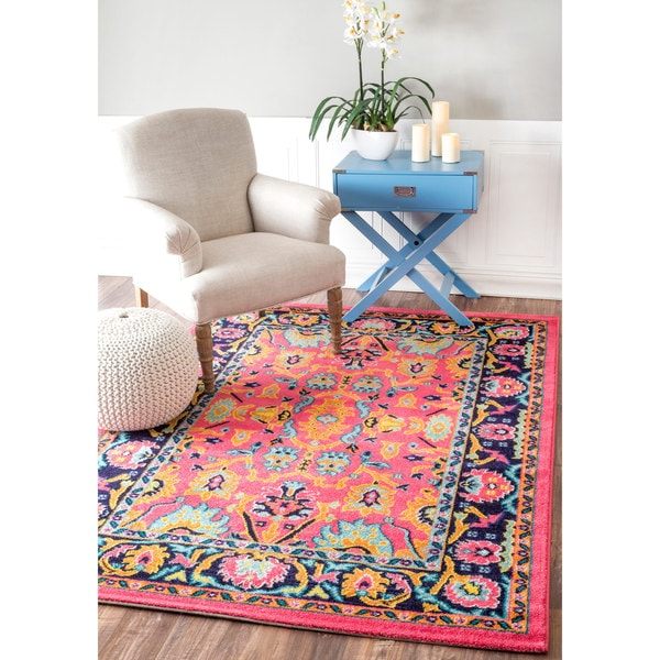 Nuloom Vibrant Floral Persian Pink Rug 5 X 8