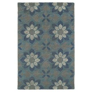 Hand-Tufted Mi Casa Grey Floral Medallion Rug (9'0 x 12'0)