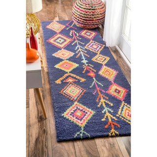 nuLOOM Contemporary Handmade Wool/ Viscose Moroccan Triangle Navy Rug (2'6 x 10')