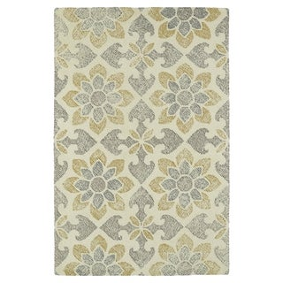 Hand-Tufted Mi Casa Ivory Floral Medallion Rug (9'0 x 12'0)