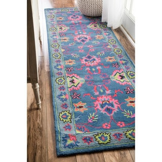 nuLOOM Handmade Overdyed Traditional Wool Blue Runner Rug (2'6 x 8')