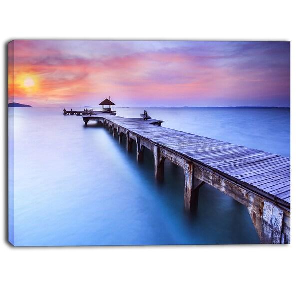 Designart - Blue Wooden Bridge - Seascape Photography Canvas Art