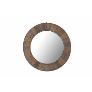 Sunjoy Recycled Fir Wood Wide Border 27-inch Round Mirror
