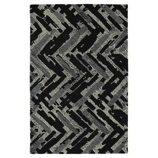 Hand-Tufted Mi Casa Black Zig-Zag Rug (9'0 x 12'0)