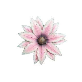 Sunjoy Pink/ White Metal Oversized 25-inch Flower Wall Decor