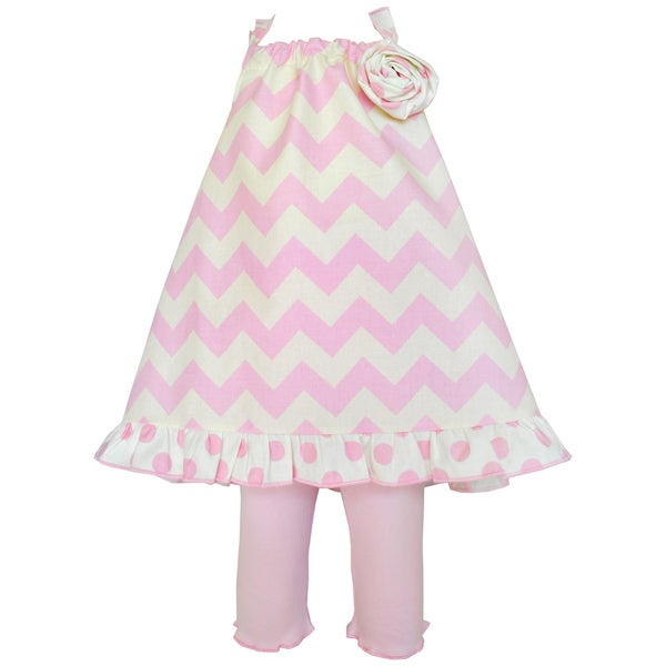 AnnLoren Girl's Boutique Pink Chevron Halter Tunic and Capri Clothing Set