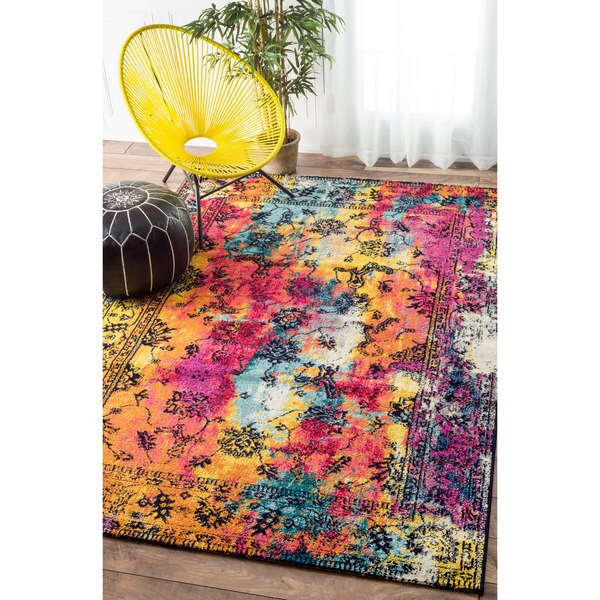 Nuloom Vintage Vibrant Watercolor Floral Multi Rug 8 X