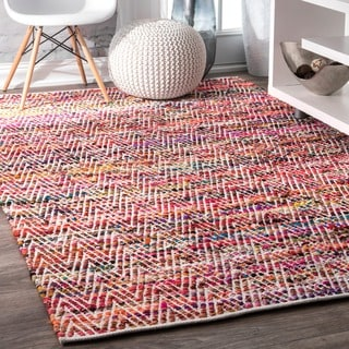 nuLOOM Handmade Flatweave Stiped Chevron Cotton Magenta Rug (8'6 x 11'6)