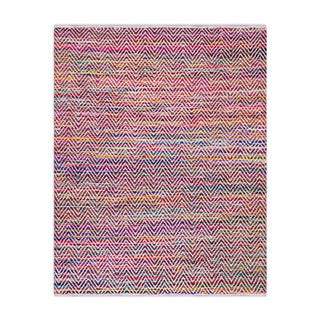 nuLOOM Handmade Flatweave Stiped Chevron Cotton Magenta Rug (7'6 x 9'6)