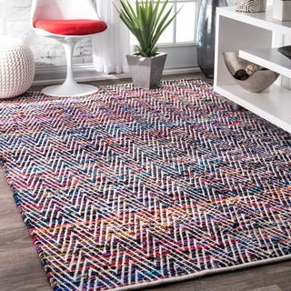 nuLOOM Handmade Flatweave Stiped Chevron Cotton Indigo Rug (8'6 x 11'6)