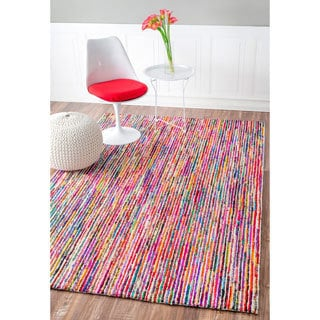nuLOOM Handmade Modern Pebbled Stripes Multi Rug (2'6 x 8')