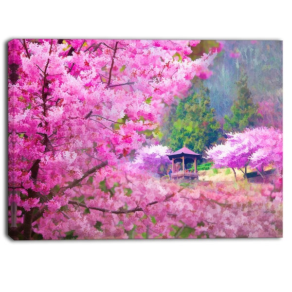 Designart - Japanese Cherry Flowers - Floral Canvas Art Print