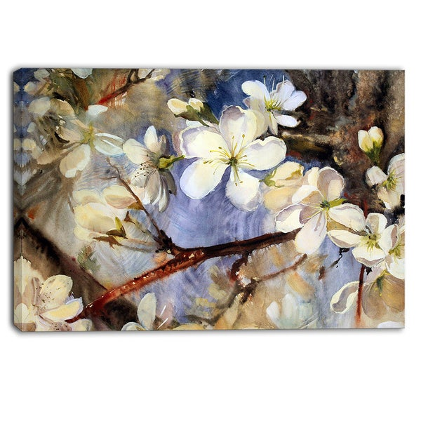Designart - White Spring Flowers - Floral Canvas Print