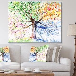 Designart - Four Seasons Tree - Floral Canvas Art Print - Green