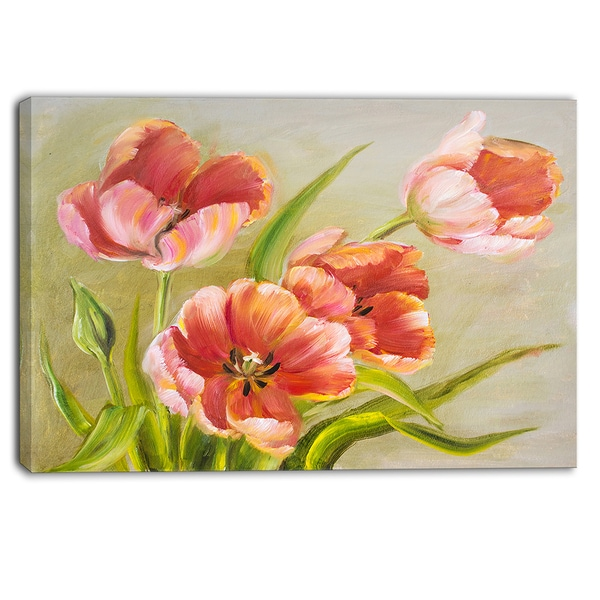 Designart - Vintage Red Tulips - Floral Canvas Art Print