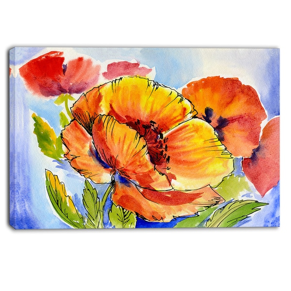 Designart - Bouquet of Full Blown Poppies - Floral Canvas Art Print