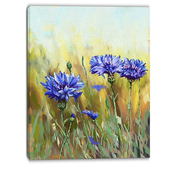 Designart - Cornflowers in Full Bloom - Floral Canvas Art Print