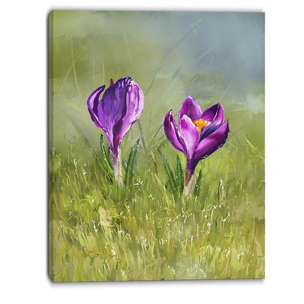 Designart - Crocus Couple - Floral Canvas Art Print