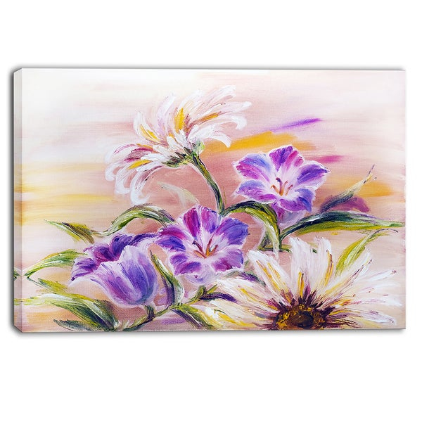 Designart - Purple Wildflowers - Floral Canvas Art Print