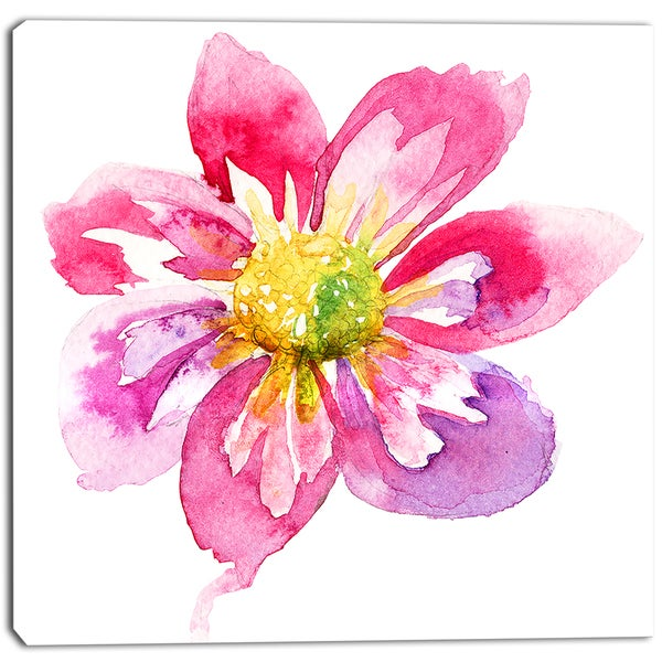 Designart - Full Bloom Pink Flower - Floral Canvas Artwork