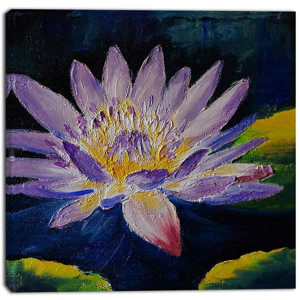 Designart - Purple Lotus Flower - Floral Canvas Print