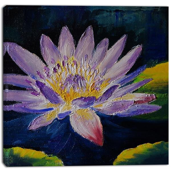 Designart - Purple Lotus Flower - Floral Canvas Print