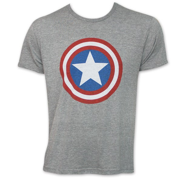 Captain America Shield Heather Grey Logo T-Shirt