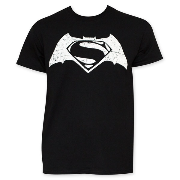 Batman VS Superman Black And White Movie Logo T-Shirt