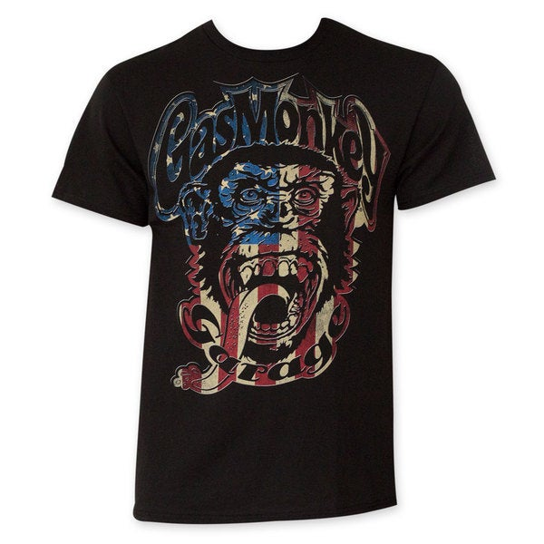Gas Monkey Red/ White And Blue Men's Black T-Shirt