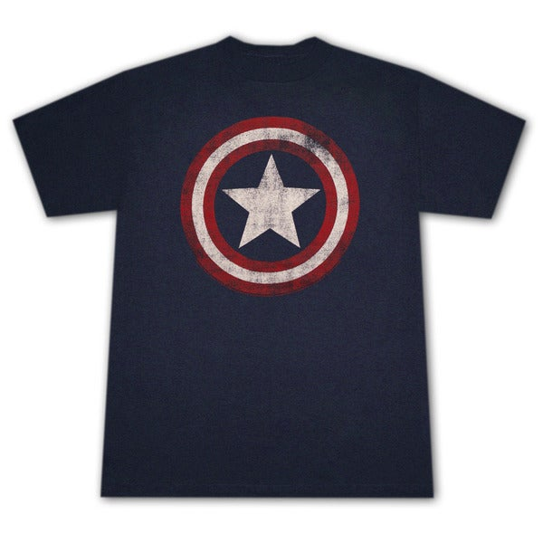 Captain America Distressed Shield Logo Dark Blue Graphic T-Shirt