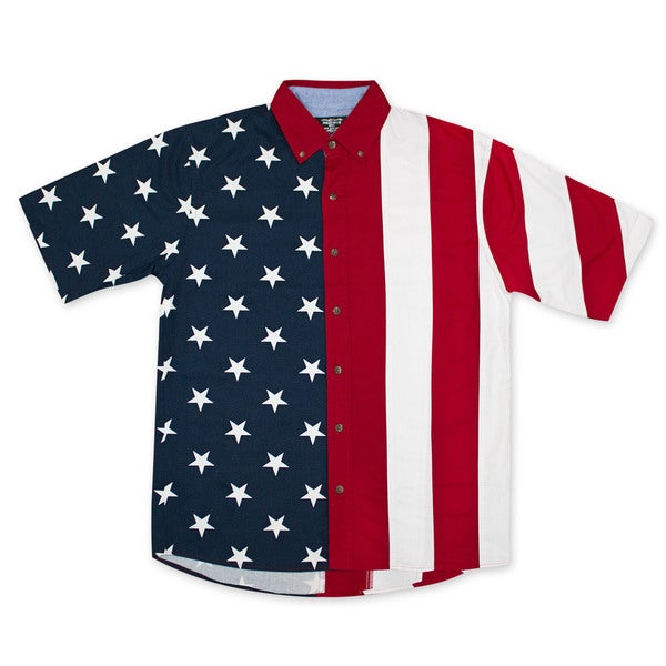 American Flag USA Button Up Dress Shirt