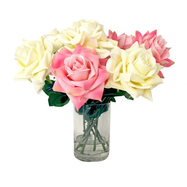 Creative Displays 15-inch Blooming Cream and Pink Silk Rose Bouquet In Acrylic Water Vase 17461358