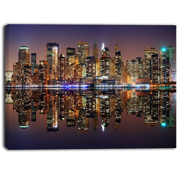 Designart - City of Manhattan Panorama - Cityscape Photo Canvas Print