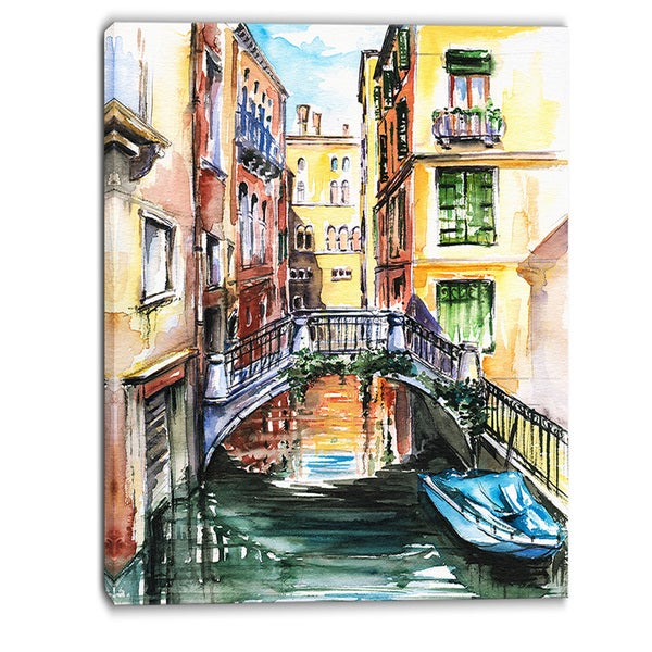 Designart - Venice, Canal Meeting Bridge - Cityscape Canvas Art Print