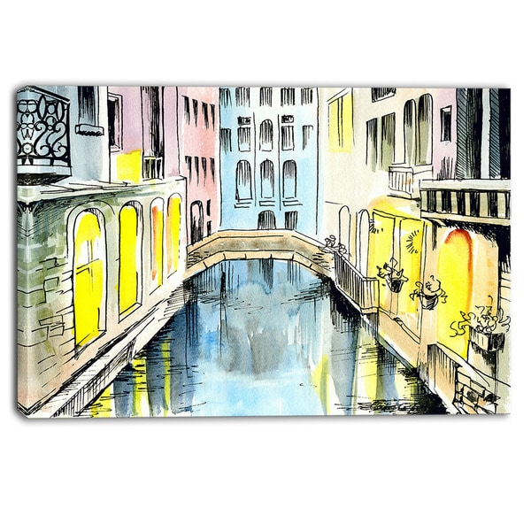 Designart - Canal in Venice - Cityscape Canvas Artwork