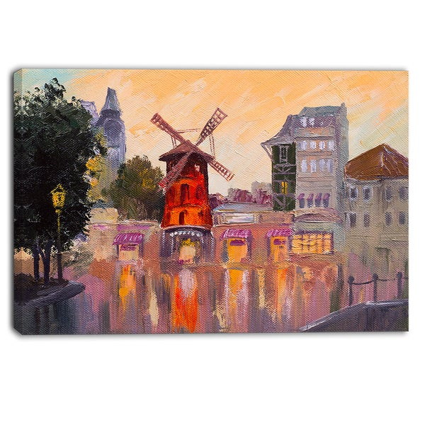 Designart - Moulin Rouge Paris Attraction - Cityscape Canvas Print