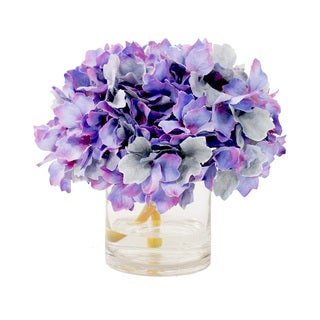 Creative Displays 10-inch Lavender Hydrangea and Acrylic Water Faux Floral