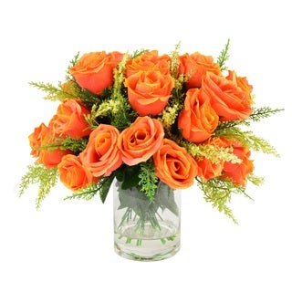 Creative Displays 11-inch Orange Rose Bouquet In Acrylic Water Vase