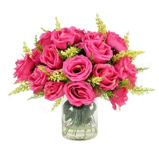 Creative Displays 11-inch Fuchsia Rose Bouquet In Acrylic Water Vase